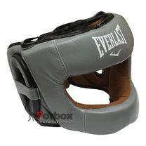 Шолом боксерський з бампером Everlast шкіряний (BO-5240, сірий)