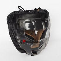 Шлем тренировочный с пластиковой маской Everlast PU кожа (MA-0719-BK, черный)