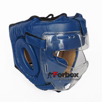Шлем тренировочный с пластиковой маской Everlast PU кожа (MA-0719-BL, синий)