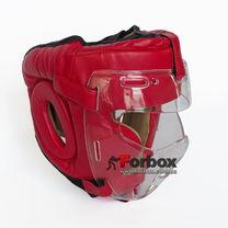 Шлем тренировочный с пластиковой маской Everlast PU кожа (MA-0719-R, красный)