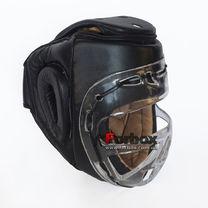 Шлем тренировочный с пластиковой маской Everlast кожа (MA-1427-BK, черный)