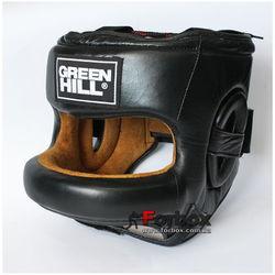Шлем боксерский Green Hill Fort с бампером из натуральной кожи (HGF-9410, черный)