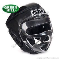 Шлем тренировочный Green Hill Safe с забралом из кожи (HGS-4023, черный)