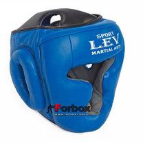Шлем тренировочный закрытый Lev sport кожа (1305-bl, синий)