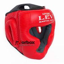 Шлем тренировочный закрытый Lev sport кожа (1305-rd, красный)