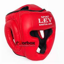 Шлем тренировочный закрытый Lev sport кожзам (1306-rd, красный)