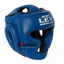 Шлем тренировочный закрытый Lev sport кожзам (1306-bl, синий)