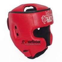 Шлем кикбоксерский Lev Sport из кожзаменителя (LSHK-RD, красный)