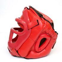 Шлем с пластиковым забралом Reyguard кожа красный