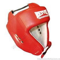 Шлем боксерский с печатью ФБУ REYVEL вид 1 кожа (0104-rd, красный)