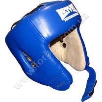 Шлем боксерский с печатью ФБУ REYVEL вид 1 кожа (0104-bl, синий)