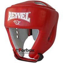 Шлем боксерский с печатью ФБУ REYVEL вид 2 кожа (0116-rd, красный)