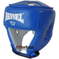 Шлем боксерский с печатью ФБУ REYVEL вид 2 кожа (0116-bl, синий)