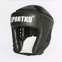 Шлем боксерский Sportko из кожзаменителя с закрытым верхом (ОД2, черный)