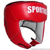 Шлем турнирный с печатью ФБУ кожа SportKo (1717-rd, красный)