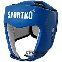 Шлем турнирный с печатью ФБУ кожа SportKo (1717-bl, синий)