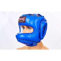 Шлем с бампером Twins из натуральной кожи (HGL-10-BU, синий)