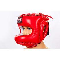 Шлем с бампером Twins из натуральной кожи (HGL-10-RD, красный)