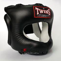 Шлем с бампером Twins из натуральной кожи (HGL-10-BK, черный)