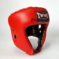 Шлем боксерский Twins из натуральной кожи с открытым подбородком (HGL-8-RD, красный)