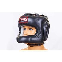 Шолом боксерський з бампером шкіряний Twins (HGL-9-BK, чорний)