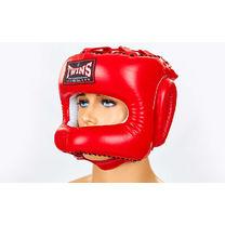 Шлем боксерский с бампером кожаный Twins (HGL-9-RD, красный)