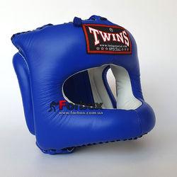 Шлем боксерский с бампером кожаный Twins (HGL-9-BU, синий)