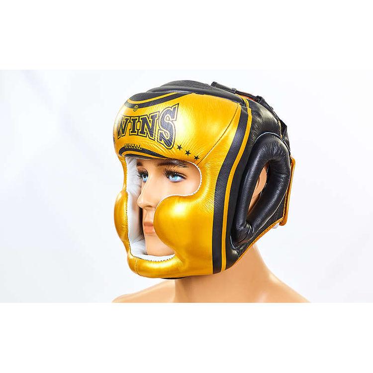 7d932801b940 Шлем боксерский с полной защитой кожаный Twins (HGL3-TW4G-BK, золотой-