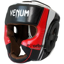 Шлем тренировочный Venum кожаный с полной защитой (BO-5239-BKW, черно-бело-красный)