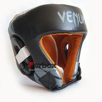 Шлем боксерский Venum с открытым подбородком из натуральной кожи (BO-6629-BK, черный)