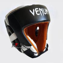 Шлем боксерский Venum с открытым подбородком из натуральной кожи (BO-6629-BKW, черно-белый)
