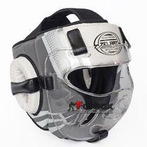Шлем для единоборств с прозрачной маской PU ZELART (BO-1360, Серый-белый)