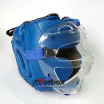 Шлем с пластиковой маской Everlast (PU синий, ZB-5209)
