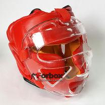 Шлем с пластиковой маской Everlast (PU красный, ZB-5209)