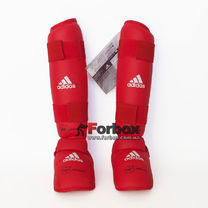Защита голени и стопы Adidas с лицензией WKF (661.35Z, красная)