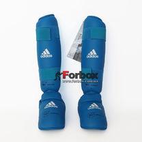 Защита голени и стопы Adidas с лицензией WKF (661.35Z, синяя)