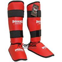 Защита голени и стопы Boxer Элит кожвинил (2004-01К, красные)