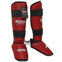Защита голени и стопы Boxer кожзам (8012, красная)