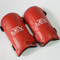 Защита голени Lev Sport из кожзаменителя (SGALLV, красная)