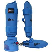 Защита голени и стопы Smai WKF Approved (SMP-102, синяя)