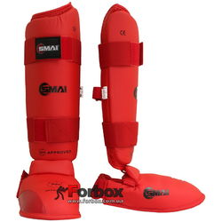 Защита голени и стопы Smai WKF Approved (SMP-102, красная)