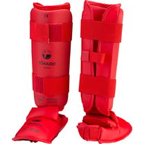 Защита голени и стопы TOKAIDO с лицензией WKF (Pro-3E-WKF, красная)