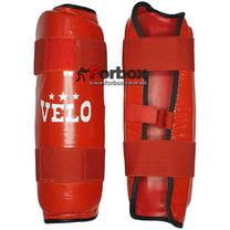 Защита голени Velo из натуральной кожи (VL-8105, красная)