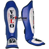 Защита голени и стопы Velo усиленная из кожи (ULI-7021, сине-белая)