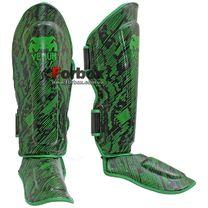 Захист гомілки та стопи Venum посилена на основі PU шкіри (VL-5797-G, чорно-зелена)