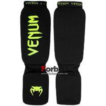 Защита голени и стопы Venum чулочного типа с фиксатором (CO-5810-BKG, черно-зеленая)