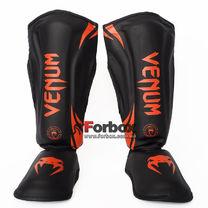 Защита голени и стопы Venum PU усиленная (BO-8356-BKOR, черно-оранжевый)