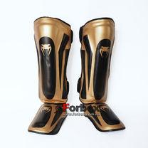 Защита голени и стопы Venum PU кожи усиленная (BO-8357-BKG, черно-золотой)