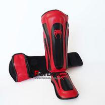 Защита голени и стопы Venum PU кожи усиленная (BO-8357-BKR, черно-красный)
