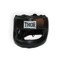 Шолом боксерский з бампером Nose Protection шкіра THOR (707-Leather-BLK, Чорний)